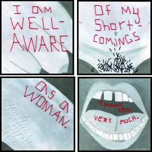 Four panels of body parts of women with writing over it