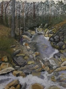 A pastel of a river in a forest