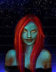 A digital painting of a girl with green skin, scars and red hair against the night sky