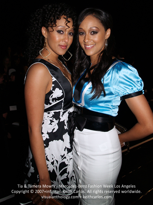 Tia & Tamera Mowry - Sister Sister, Mercedes-Benz Fashion Week 2007 March, Smashbox Studios, Los Angeles, California - Copyright © 2007+infinitas. Keith Carlos. All rights reserved worldwide. visualanthology.com + keithcarlos.com