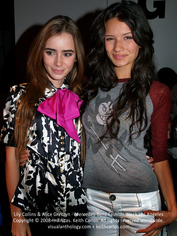 Lily Collins & Alice Greczyn - Phil Collins' daughter, The Mortal Instruments: City of Bones, 90210, The Young and the Restless, Privileged, Mercedes-Benz Fashion Week 2008 October, Los Angeles, California - Copyright © 2008+infinitas. Keith Carlos. All rights reserved worldwide. visualanthology.com + keithcarlos.com