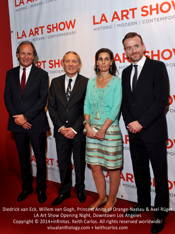 Diedrick van Eck, Willem van Gogh, Princess Anita of Orange-Nassau & Axel Rüger - LA Art Show Grand Opening Night Red Carpet Press Reception Party, Convention Center Downtown LA, Los Angeles, California - Copyright © 2014+infinitas. Keith Carlos. All rights reserved worldwide. visualanthology.com + keithcarlos.com