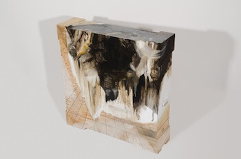Vicky Wright, Extraction V, 2011, 115 x 112 x 29cm / 45 x 44 x 11 inches, oil on wooden crate, image courtesy of the artist and Josh Lilley Gallery