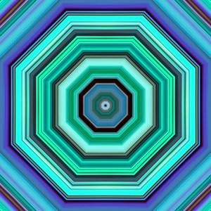 colorful striped hexagon design