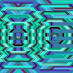 colorful glitched hexagon digital art