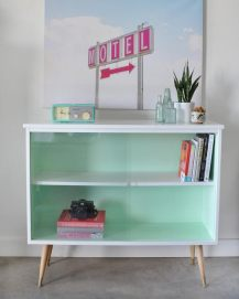 Vintage mid century sideboard before and after