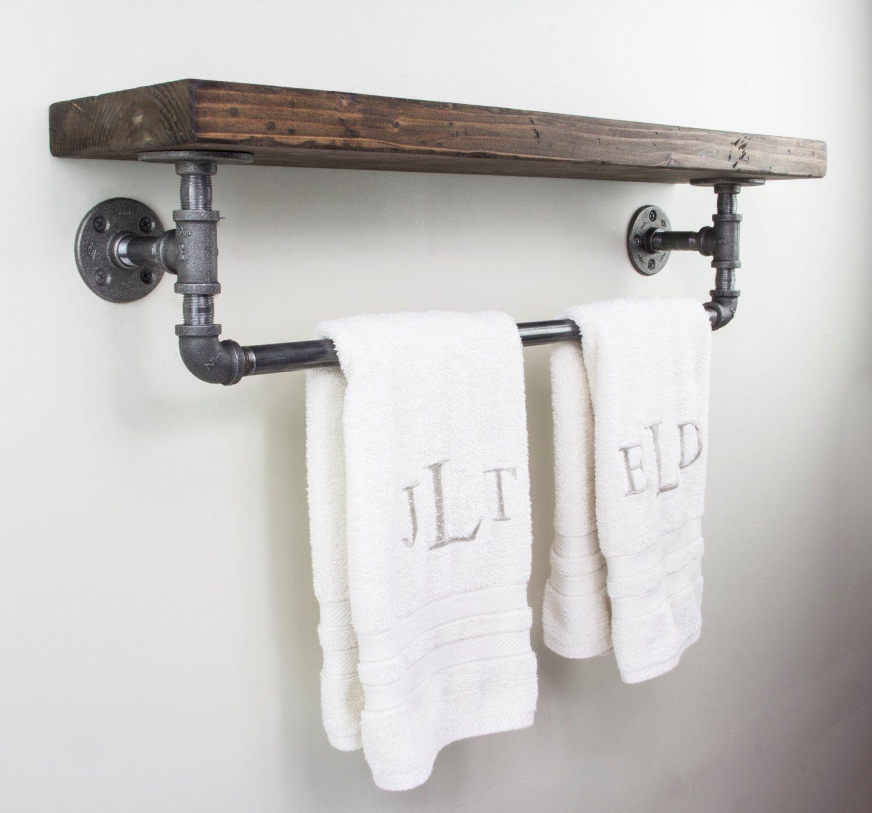 bathroom shelf with towel bar you ll