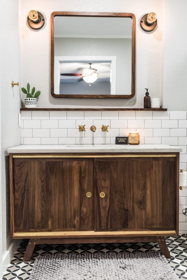 mid century modern bathroom vanity you