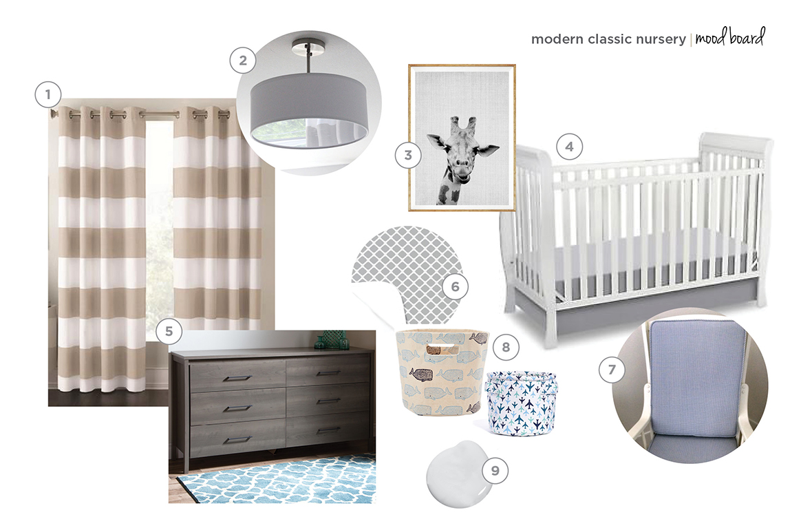 modern classic baby boy nursery mood board