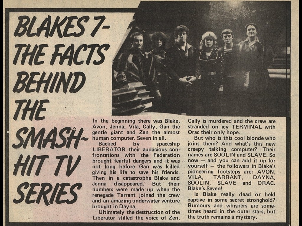 Blakes 7 - the facts behind the smash hit TV series. Article shows image from series A and text