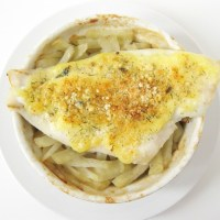 Parmesan Crusted Flounder With Baked Matchstick Potatoes Recipe