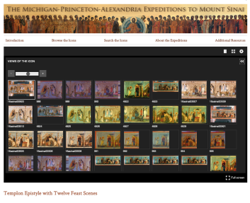 Screenshot of many images of the same Byzantine icon within a dark rectangle (image viewer).