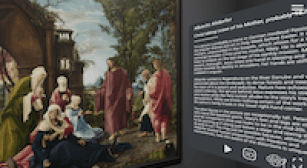 Screenshot from a virtual museum tour; painting on left, wall label on right