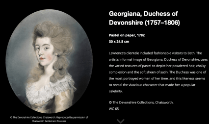 Screenshot of the Lawrence digtial exhibition with portrait of Georgiana, Duchess of Devonshire (Devonshire Collections, Chatsworth)