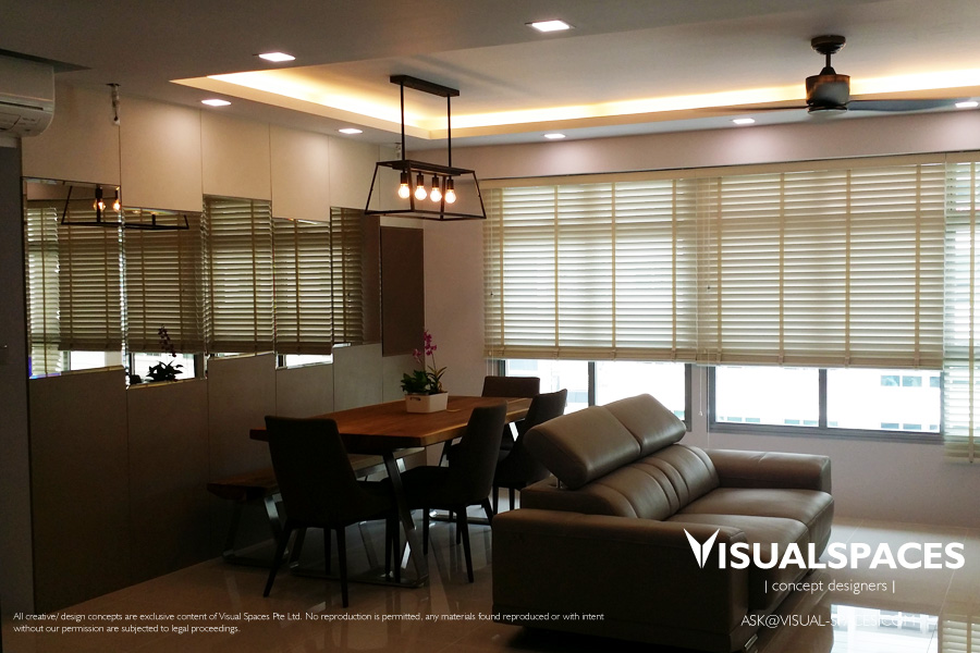 Living and Dining Area after renovation works - Punggol Walk by Visual Spaces