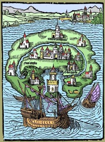 Reversioning of Thomas More's Map of Utopia. Source: http://discardstudies.com/2011/07/31/trashs-competing-utopias/
