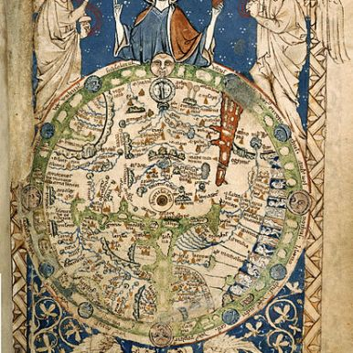 """The Psalter world map (c. 1250 AD) has dragons, as symbols of sin, in a lower """"frame"""" below the world. British Library."""