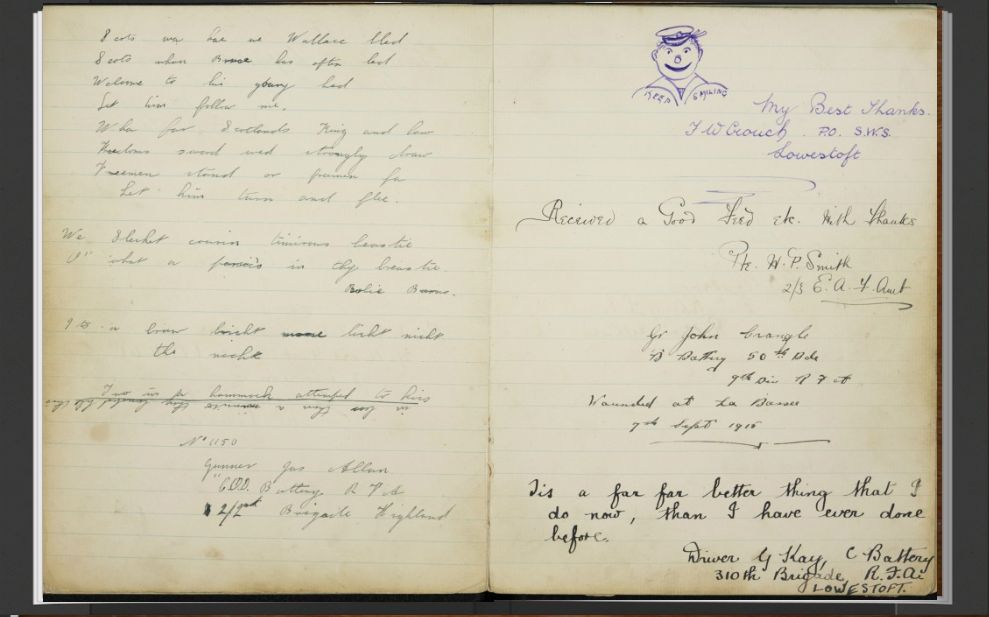 Soldiers' Thoughts in an 1916-1918 Station Visitors' Book