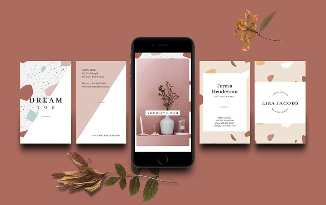 Free Business Card Templates Terrazzo Designs // Visual Stories