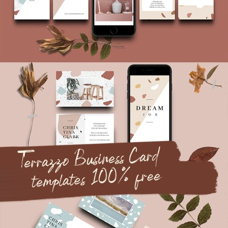 Free Terrazzo Business Card Templates // Visual Stories