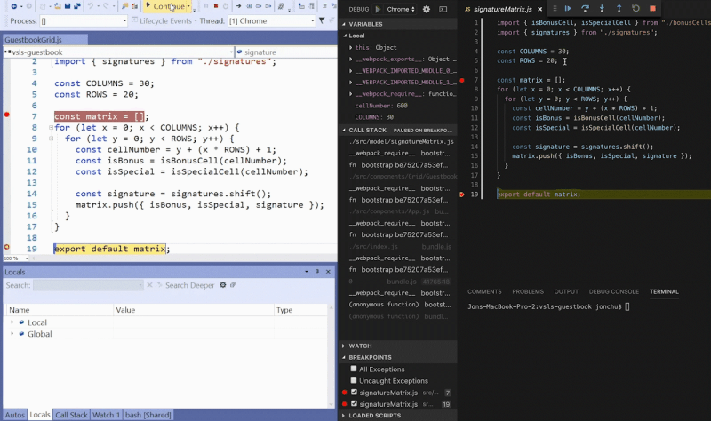 Sharing of two code bases with LiveShare screenshot