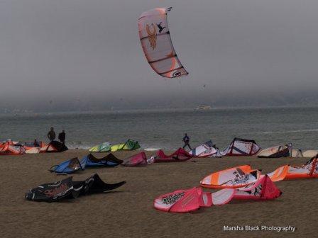 Kite-surfing at Chrissy Field in San Francisco | Marsha J Black