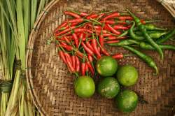 Chilli peppers, limes and lemongrass