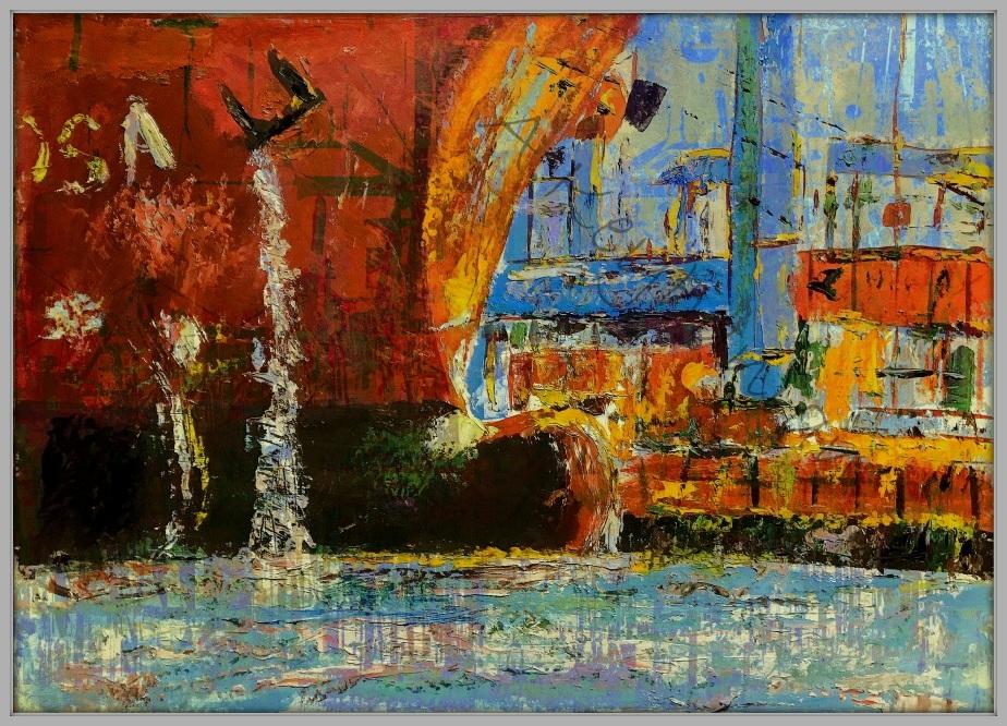 Industry Art Hamburg Ansichten Hamburg Hafen Mischtechnik 100 x 150 cm Öl auf Pappe Druck auf Lithopapier, Variabel