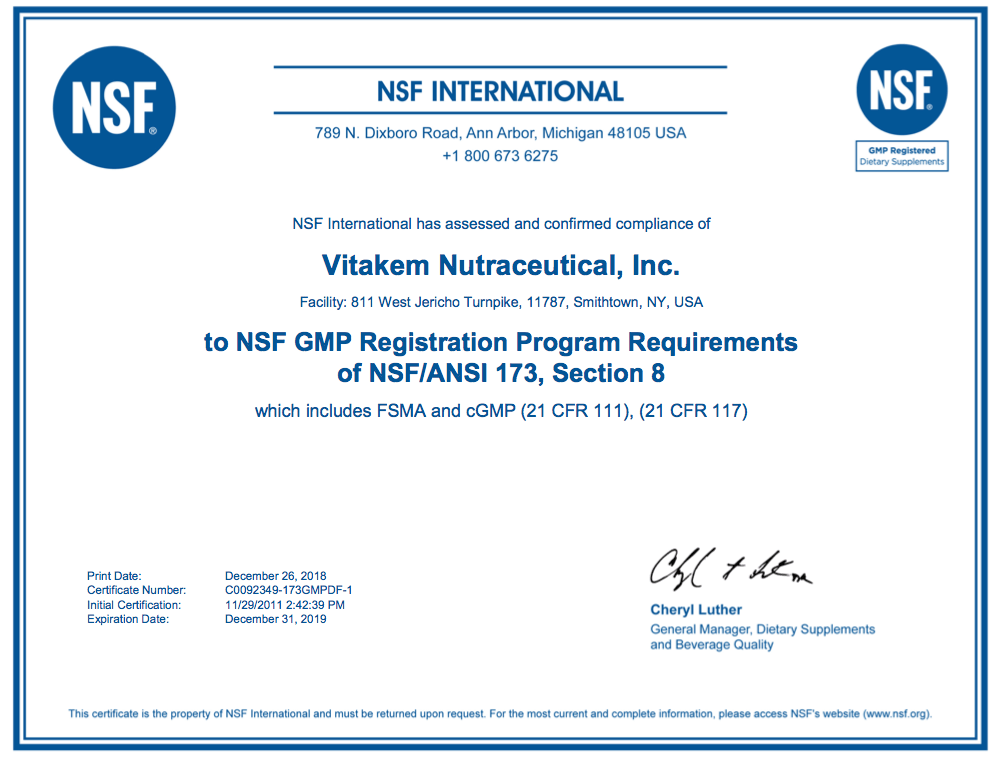 Vitakem Private Label Manufacturer Certifications Credentials