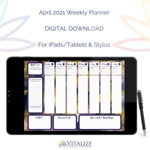 April 2021 Weekly Planner – DIGITAL DOWNLOAD (For iPads/Tablets & Stylus)