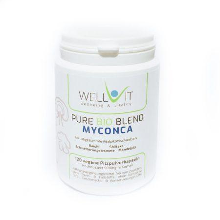 Pure Bio Blend Myconca 120 Kapseln je 500mg Pilzmischung aus Reishi Shiitake Mandelpilz