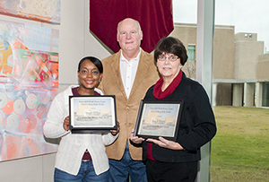 Dean Burdine with Staff Award Winners