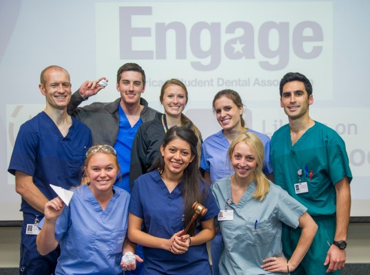 Officers of the dental schools's ASDA chapter gather after a Dec. 2 Mock Congress debate