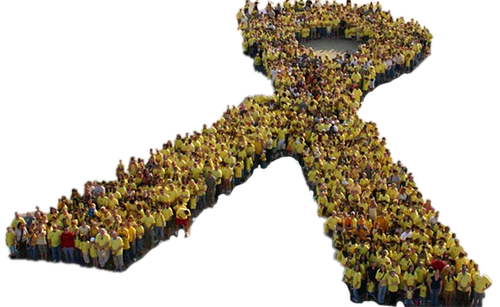 People forming cancer ribbon