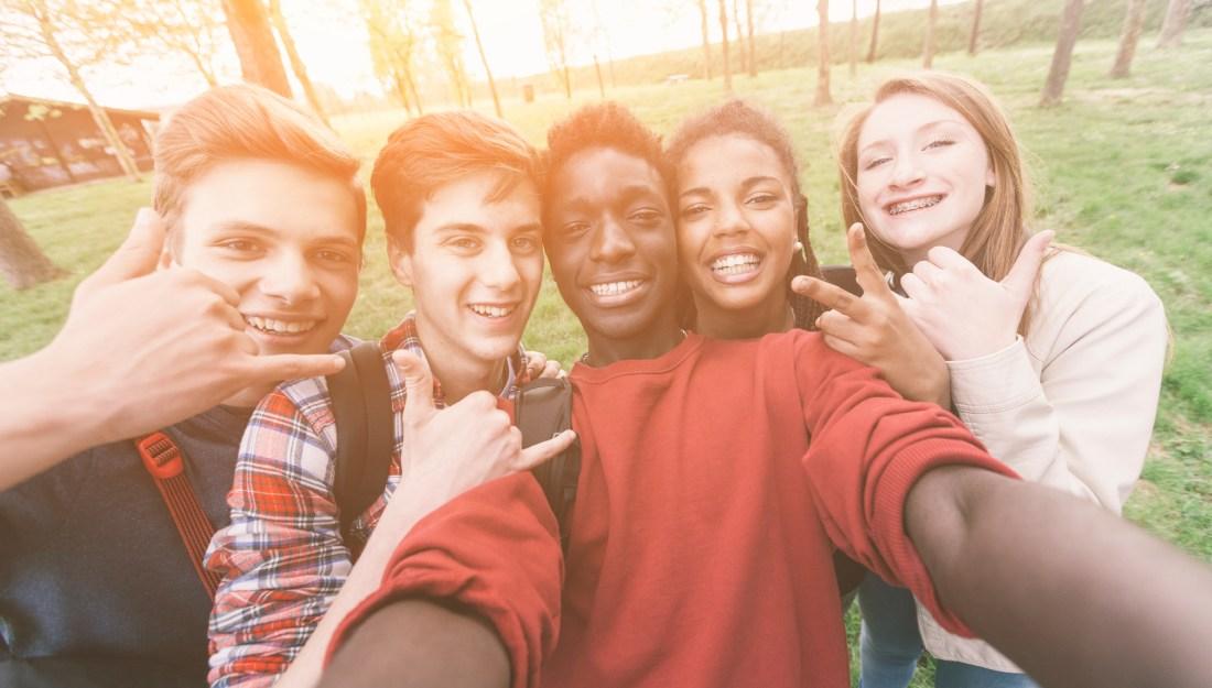 Smiling adolescents