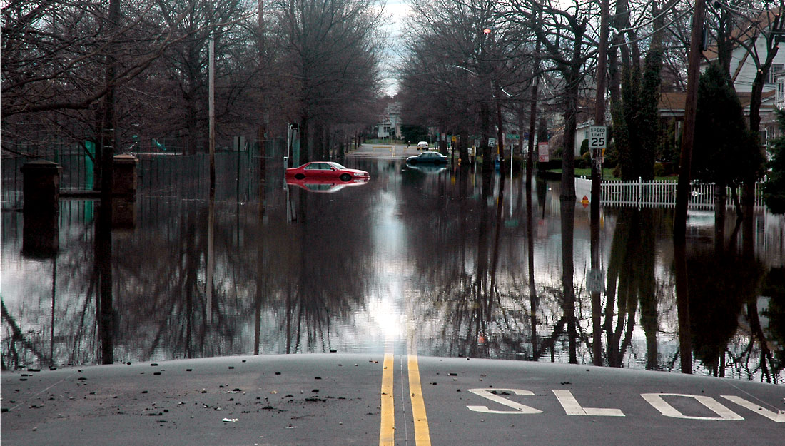 Streets and cars submerged in water