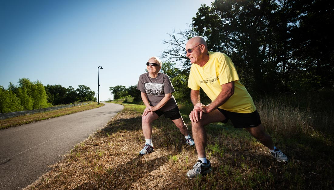 Older adults working out