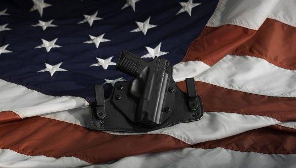 Gun on US Flag