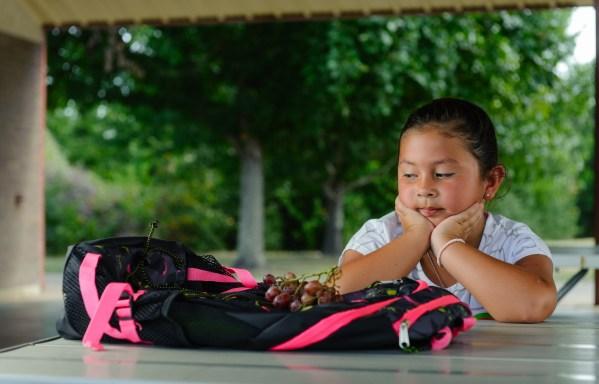 child looking at grapes