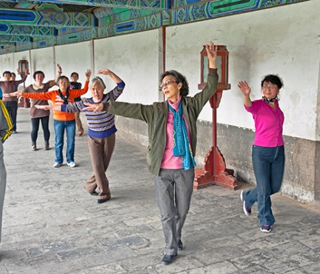 Chinese Women Exercising in park.