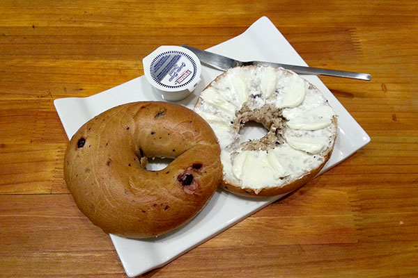 Bagels are loaded with carbs, and that is before you add cream cheese!