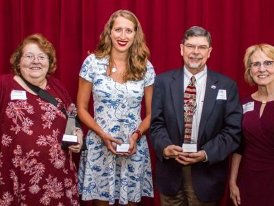 From left: Sharon Wilkerson – Legacy of Service Award, Kristen Schapson – Outstanding Former Student Award, Gary Williams – Ascension Seton Medical Center Williamson, and Dean Nancy Fahrenwald