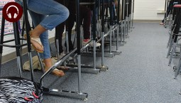 highschool students working at standing desks