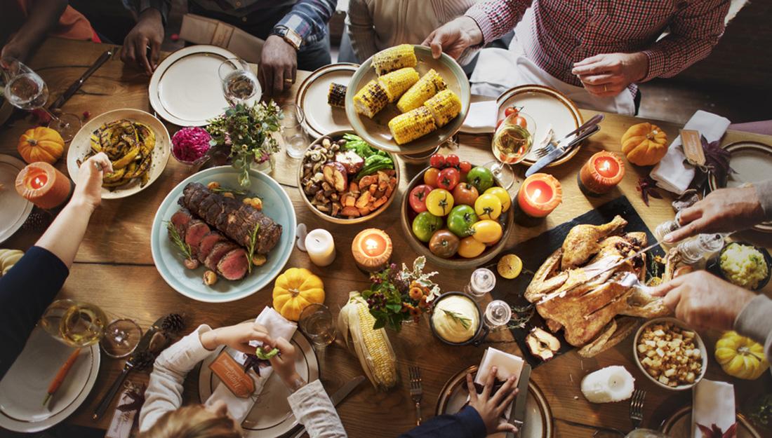 turkey dinner on table