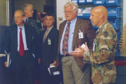 Army Nurse-Marklund standing next to different politicians including Senator Ted Kennedy