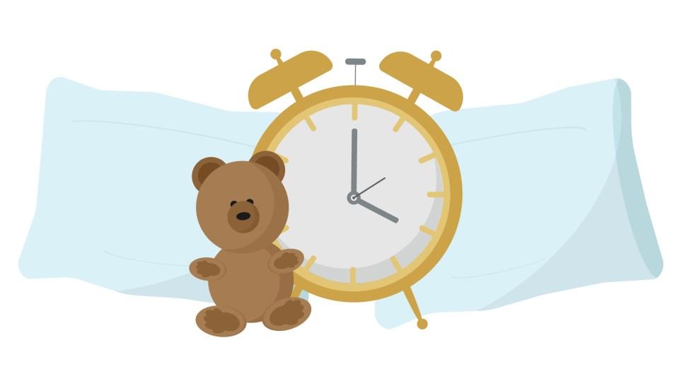 Bedtime Alarm clock pillows and teddy bear