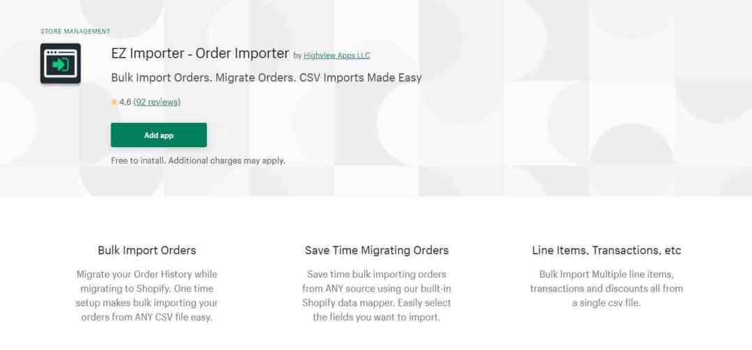 Shopify import orders