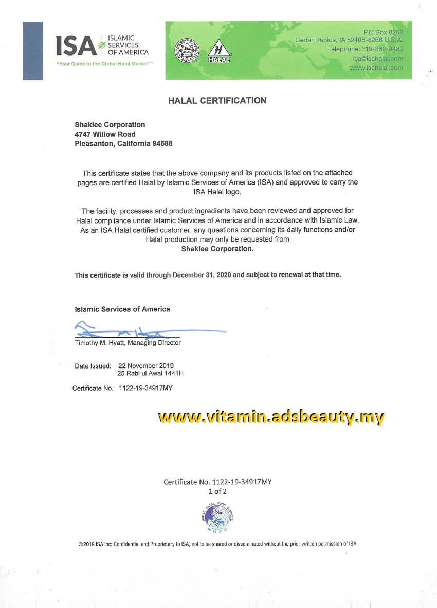 Shaklee Halal Shaklee Status Sijil Halal Shaklee 2020 Shaklee Halal Certificate 2020