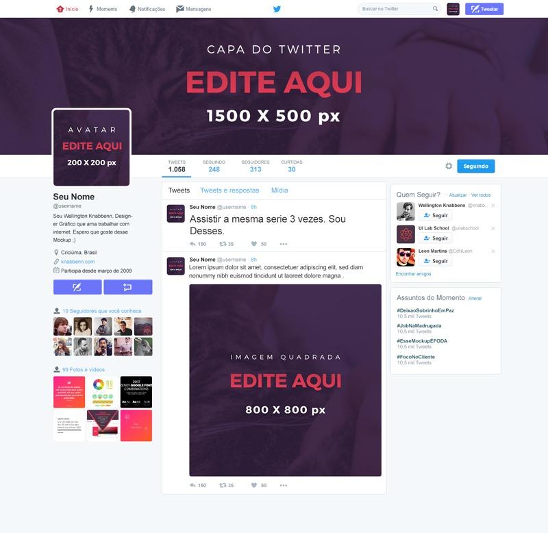mockup perfil do Twitter