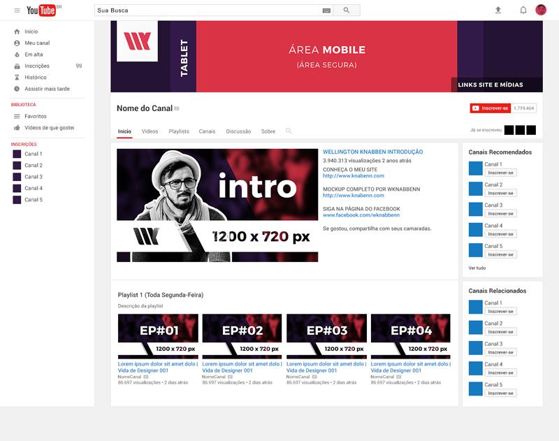 mockup canal do youtube